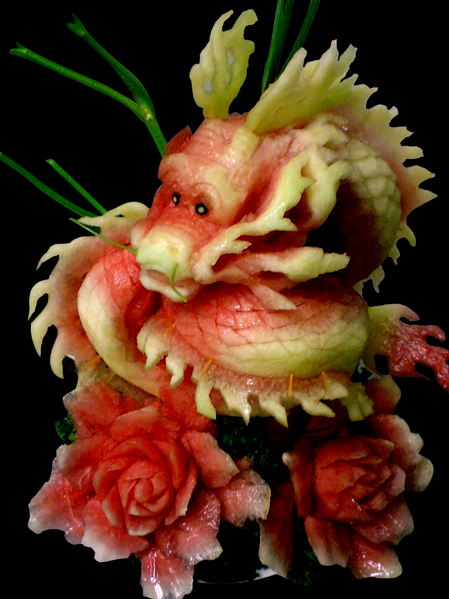 Fruit carving dragon by carvingnations on deviantart