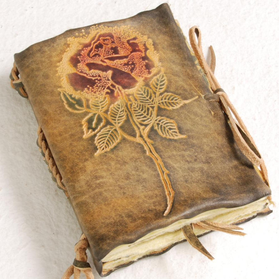 small rose leather journal by gildbookbinders on deviantart