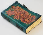 Blue Leather Journal With red dragon