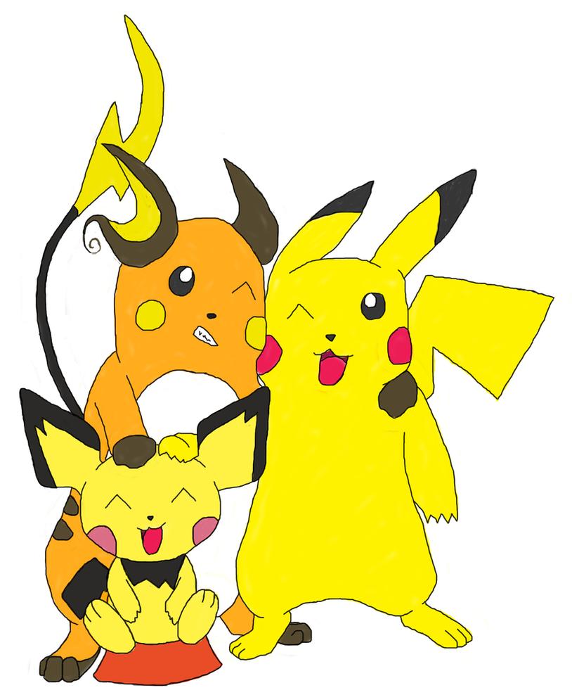 Pichu Pikachu and Raichu bros. by wolfwithin7 on DeviantArtPichu Pikachu Raichu