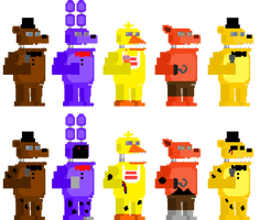 FNaF 2 Unwithered + Withered Animatronic Sprites by DaHooplerzMan