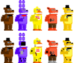 FNaF 2 Unwithered + Withered Animatronic Sprites