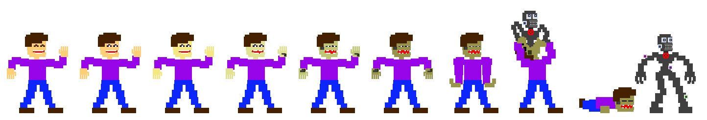Stylized Micheal Afton(?) and Ennard Sprites by DaHooplerzMan