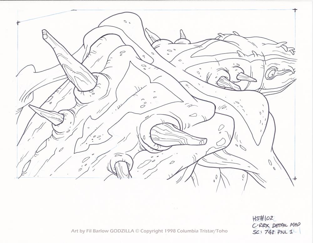 Godzilla #102: C-Rex 3Q Back Detail by filbarlow