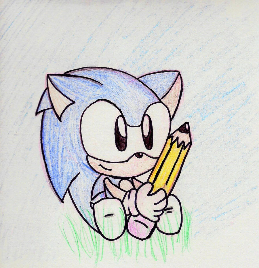 sonic and his pencil by fansonic on deviantart