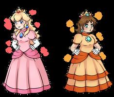 Princesses Peach and Daisy by TirAmySu