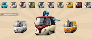 Retro Bulli Icon Set by templay-team