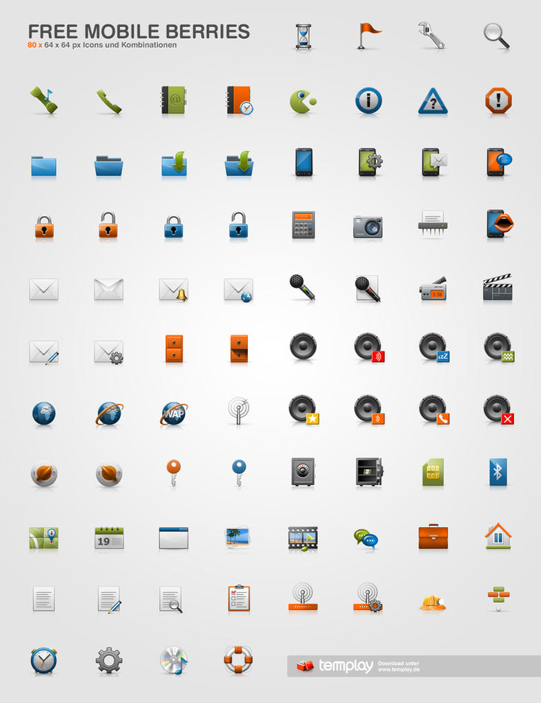 Free Mobile Berries Icon Set by templay-team