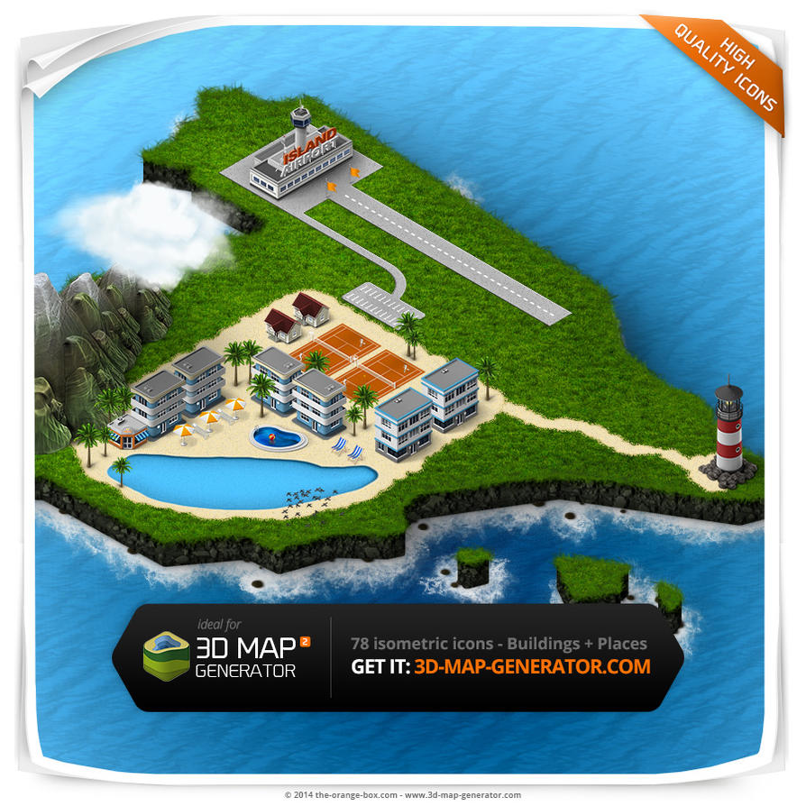 Buildings and Places - Isometric Map Icons by templay-team