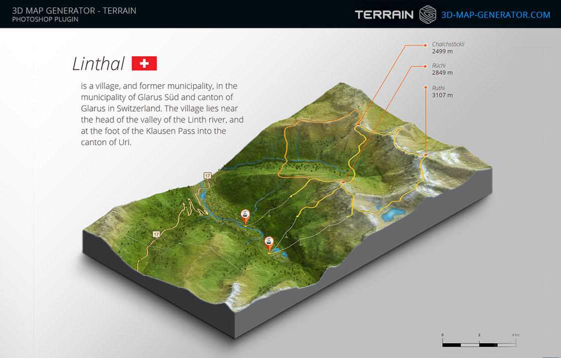 3D Map Generator Terrain Visitor Map Illustration by templayteam