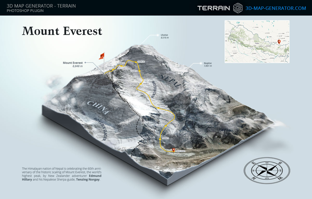 ... 3D Map Generator   Terrain   Mount Everest By Templay Team