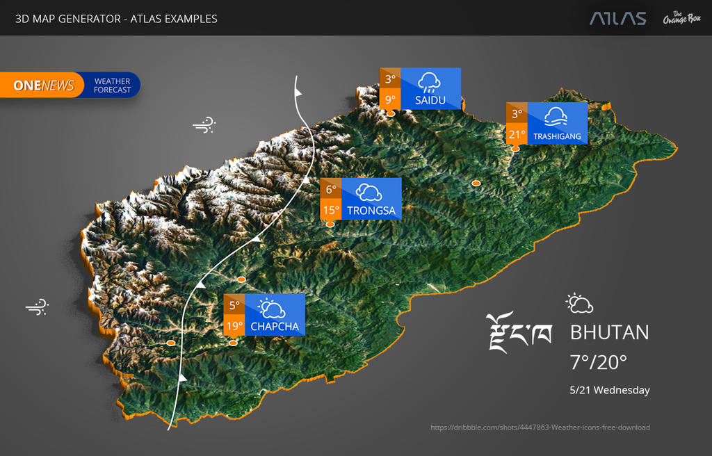 Weather Map of Bhutan - 3D Map Generator - Atlas by templay-team on