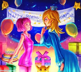 Stephanie come to Rosalina's birthday by Harmonie--Rosalina