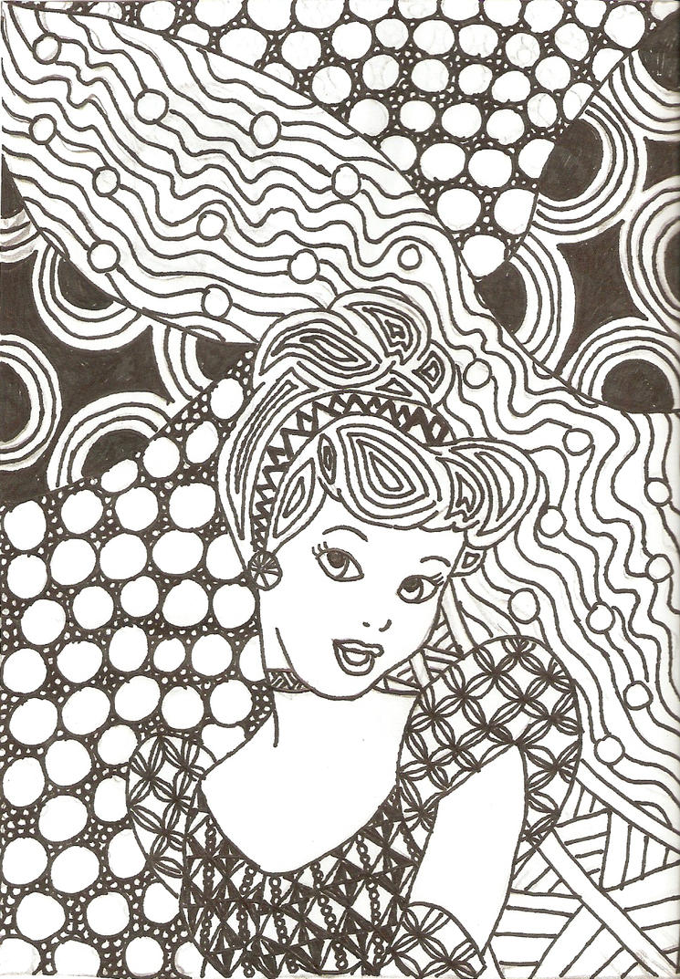 Disney Zentangle Coloring Pages : Zentangled princesses cinderella by crystal of ix on