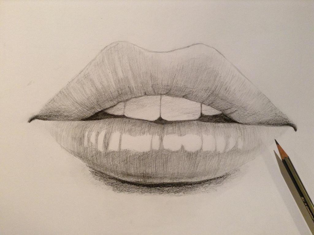 how to draw sad lips