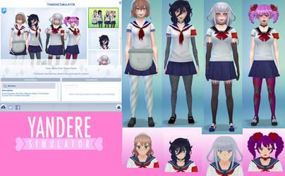 Amai, Oka, Megami, Kizana from Yandere Sim (Sims4) by Alberta360