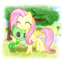 Fluttershy with Celebi
