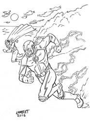 Speed Demons - Flash vs Superman by AtelierLambert