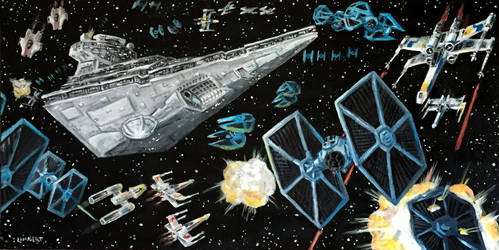 Star Wars Space Battle - Acrylic Painting
