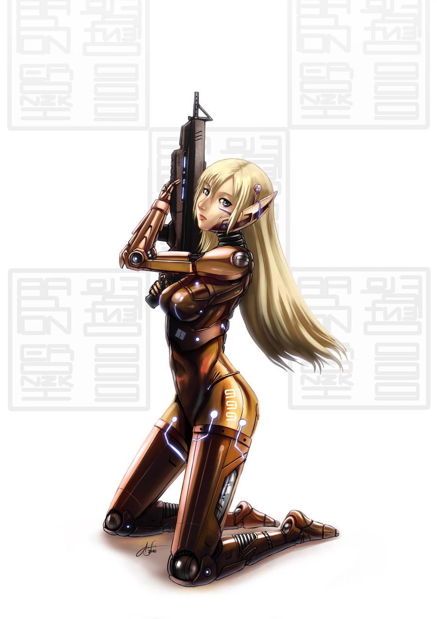 Cyborg girl coloured by eronzki999