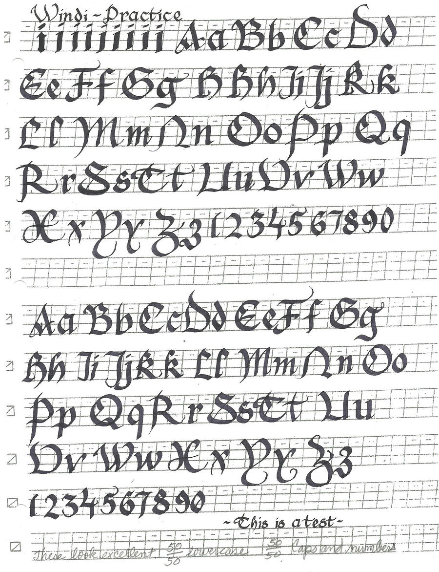 Gothic cursive calligraphy font by windblownrebel on
