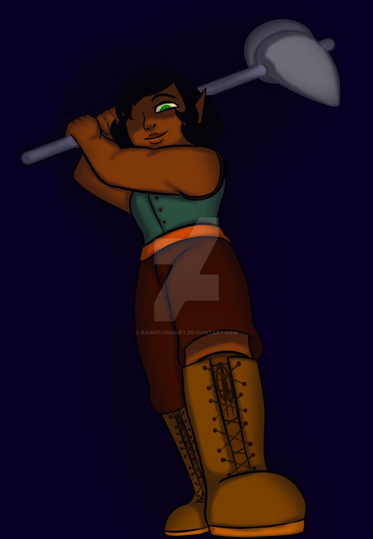 Caehceris With A Warhammer by RainstormArt