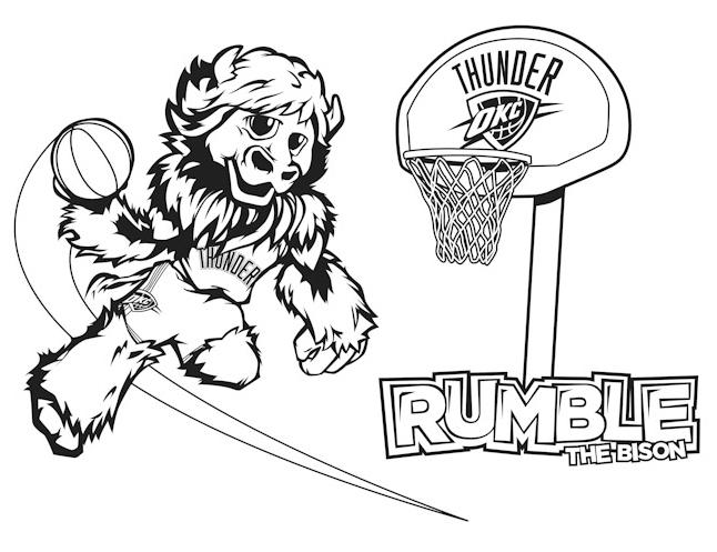 Oklahoma City Thunder Logo Nba Sport Coloring Pages Printable   497x646