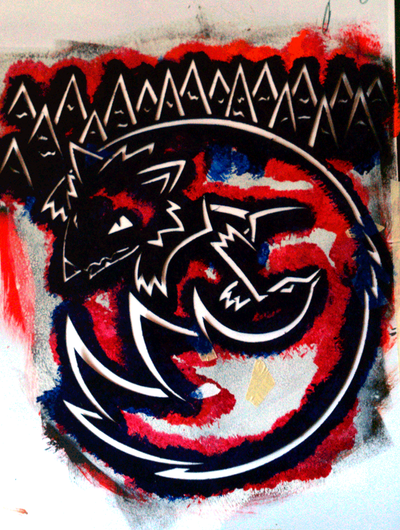 Wolf in the Forest - Stencil by EarthEvolution