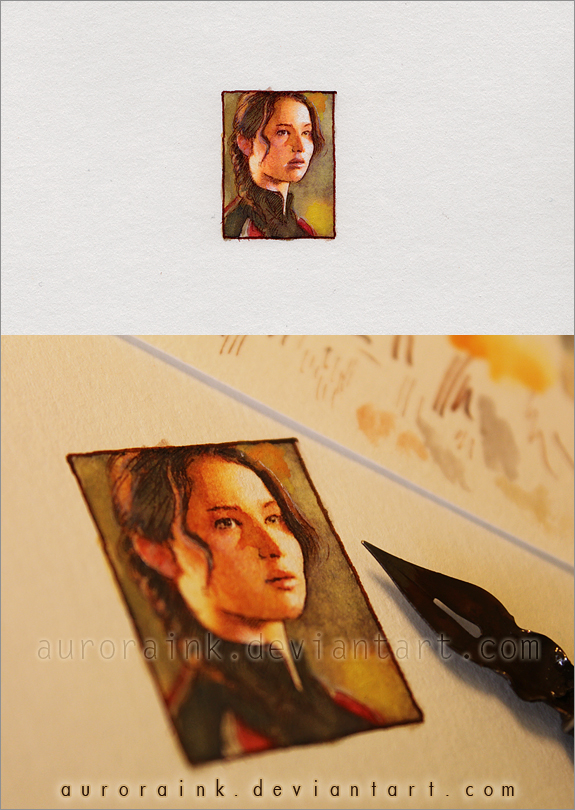 The Hunger Games - Miniature watercolor painting by RoryonaRainbow