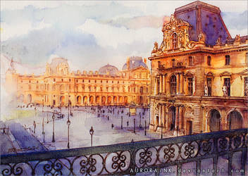 Louvre - Watercolor Study by RoryonaRainbow