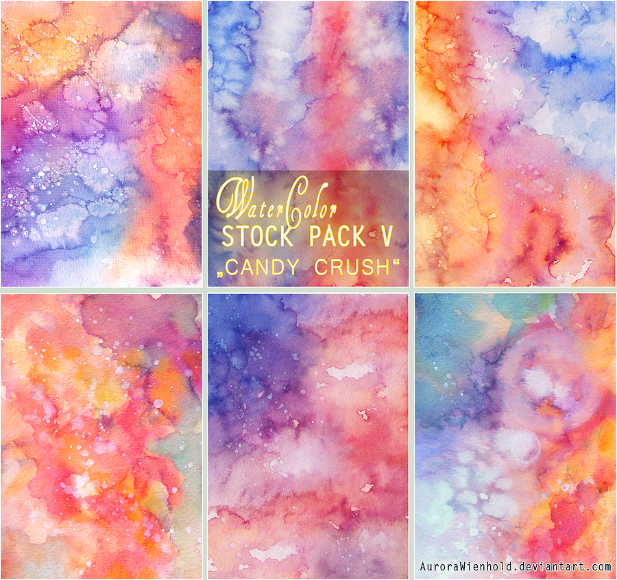 CANDY CRUSH - WATERCOLOR STOCK PACK V by RoryonaRainbow