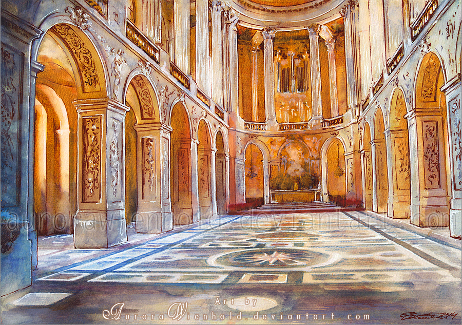 Gold church - Watercolor Painting by AuroraWienhold