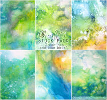 Greenfinch and blue birds - WATERCOLOR STOCK PACK by RoryonaRainbow