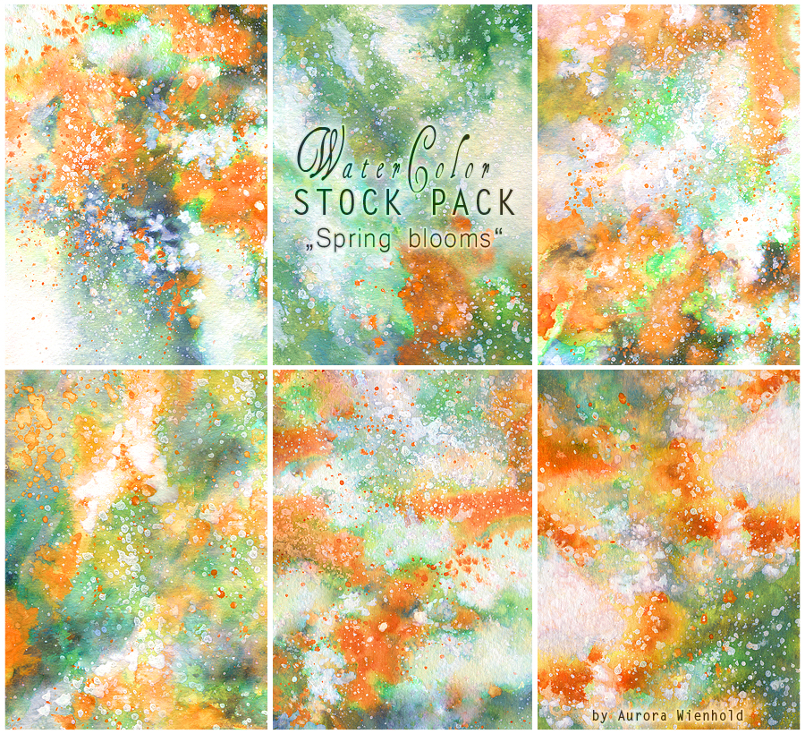 Spring blooms  - WATERCOLOR STOCK PACK by RoryonaRainbow