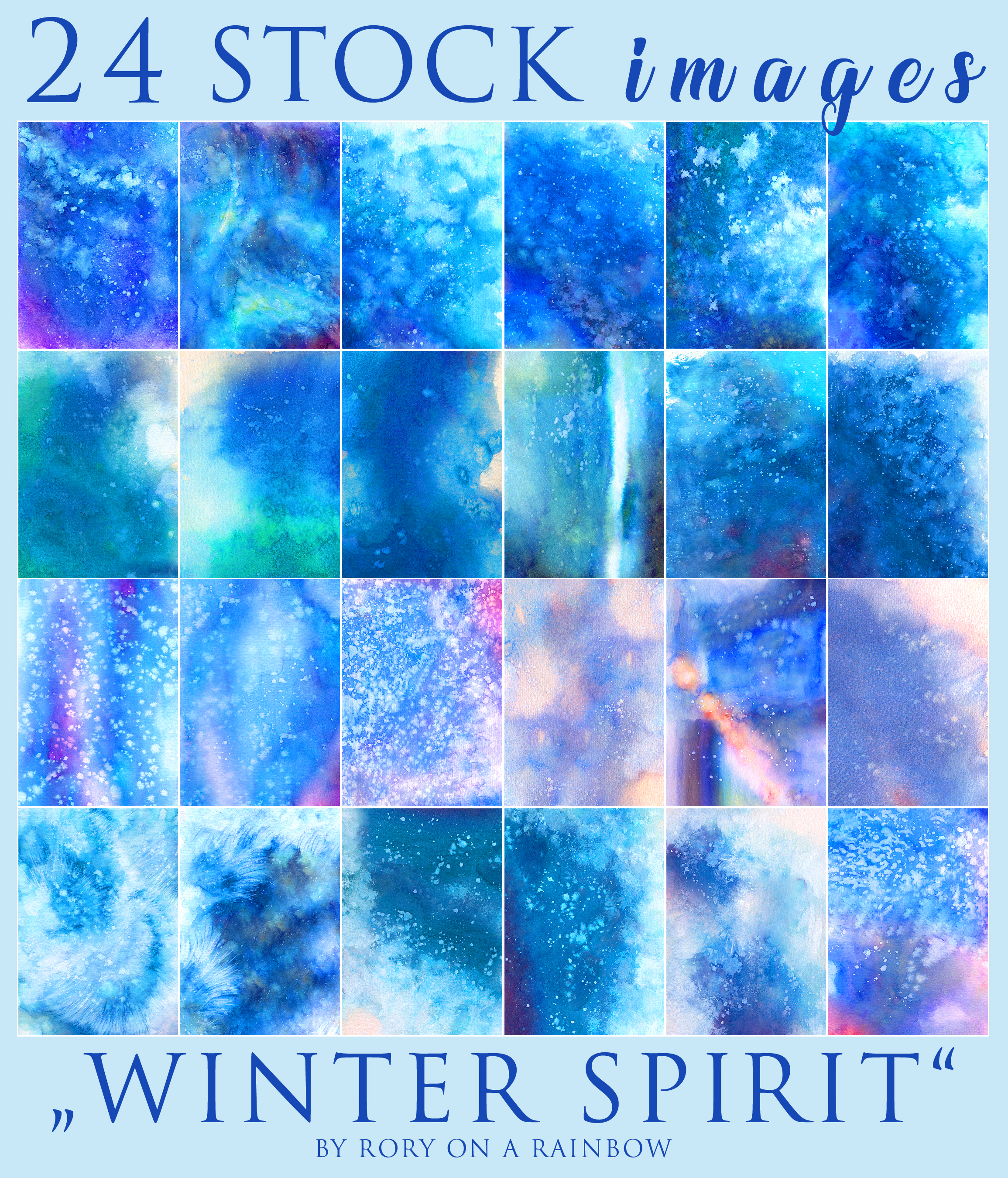 BIG WATERCOLOR STOCK PACK - Winter Spirit by RoryonaRainbow