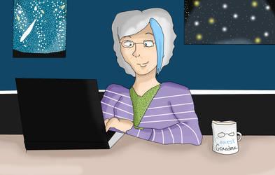 FWP:  Venus on her laptop