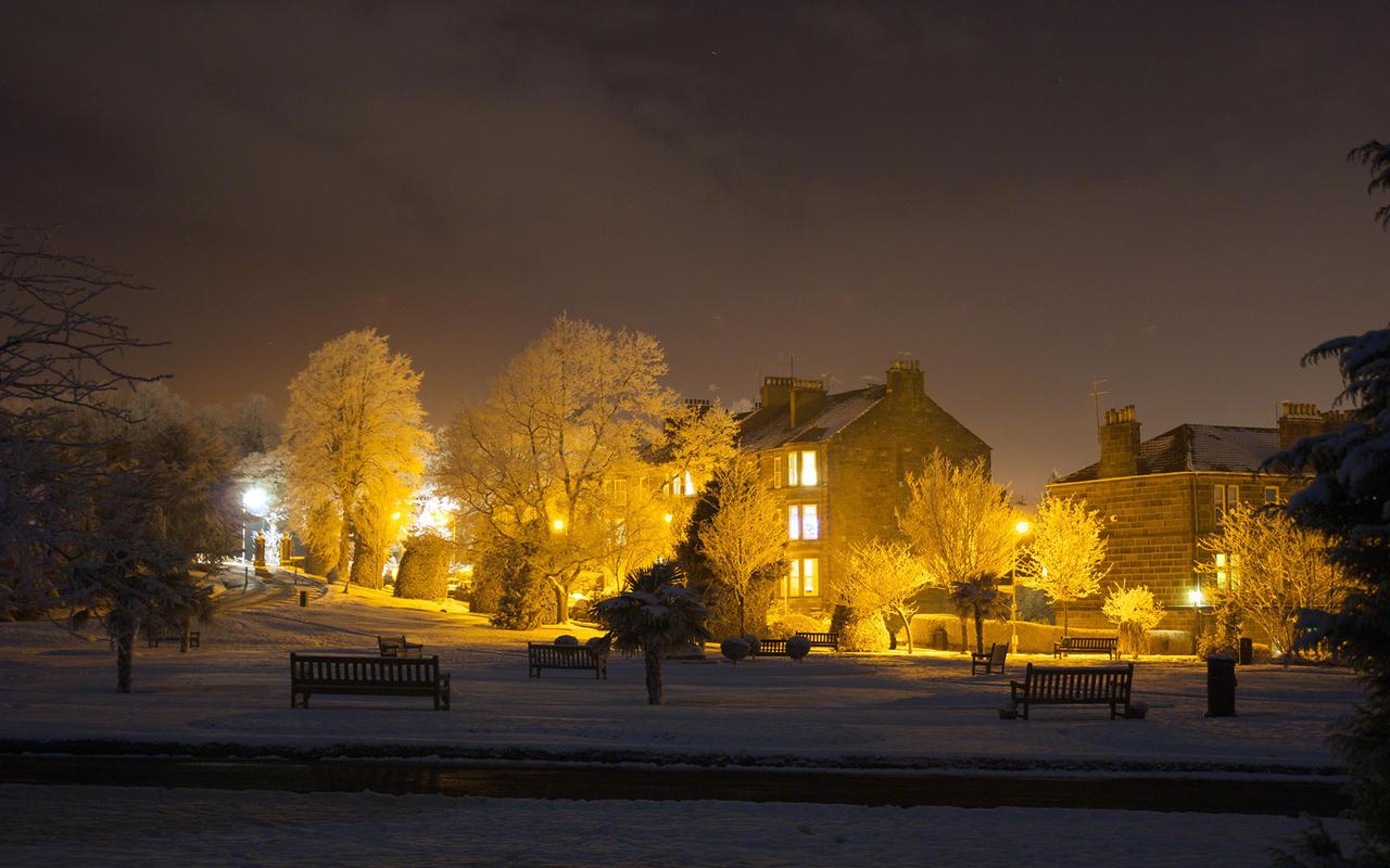 Winter's night park by c-button on DeviantArt
