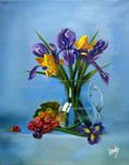 Irises and grapes