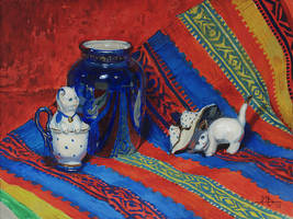 Still life with two porcelain cats by AlexeyRudikov