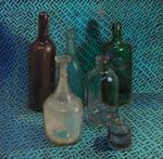 Still life with six glass vessels