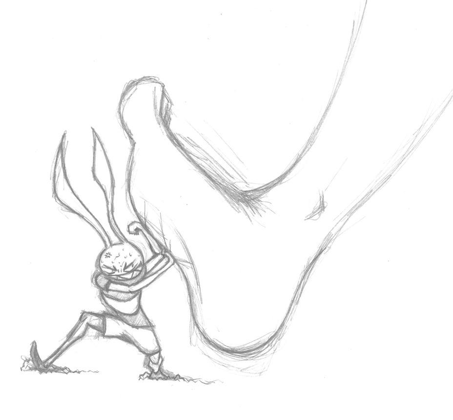 evil rabbit face drawing