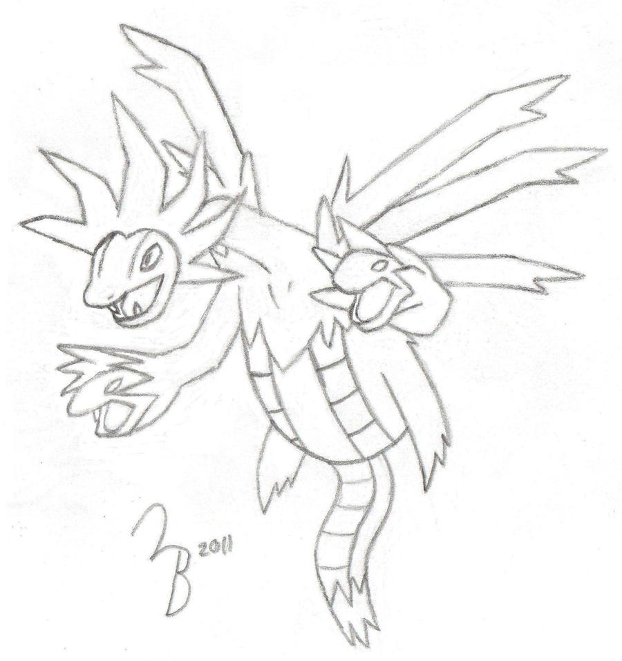 pokemon hydreigon sketch by lazy bing on deviantart