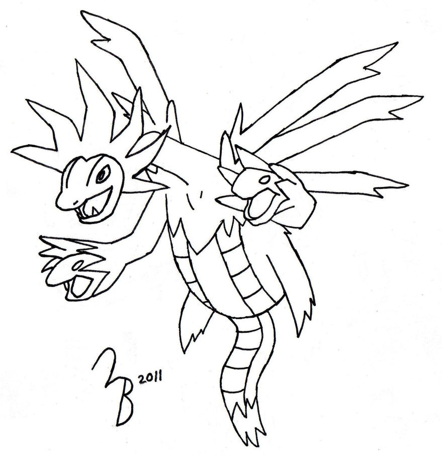 Pokemon: Hydreigon -- Lined by lazy-bing on DeviantArt