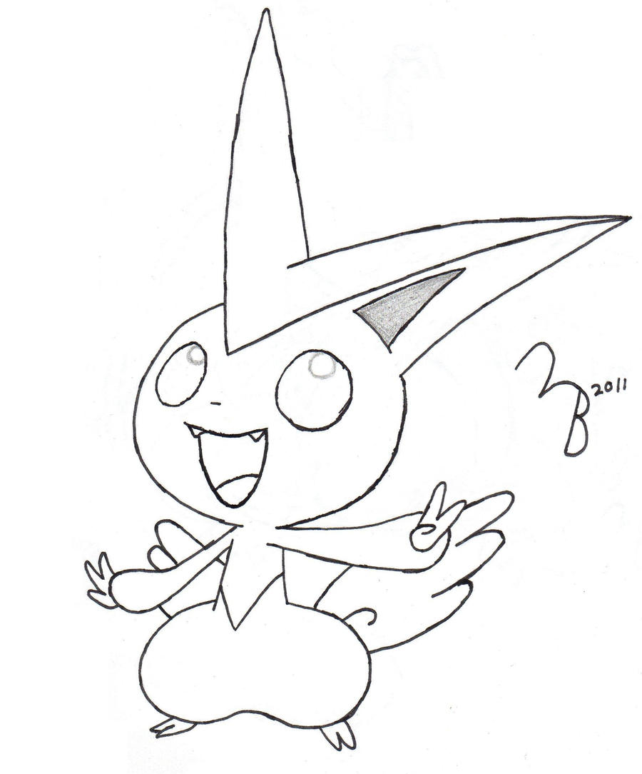 pokemon victini lined by lazy bing on deviantart