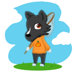 my dog lexi as an animal crossing villager