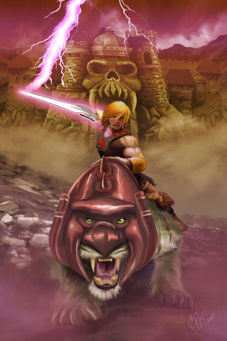 He-Man and Battle Cat by soonergriff