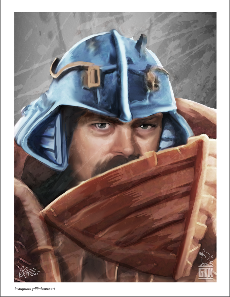 Ron Swanson, Man-at-Arms by soonergriff