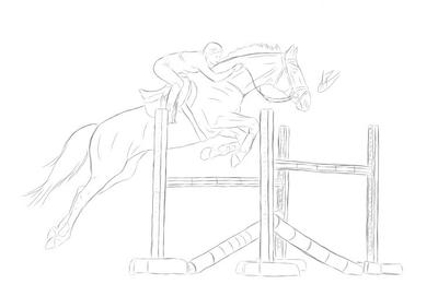 Showjumping lineart by roanyypony