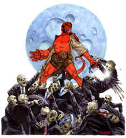 Hellboy vs. Zombies by pencilco