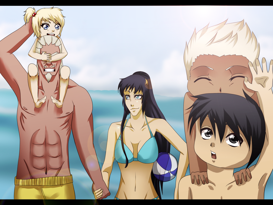 Family beach party by spadiekitchenqueenNaruten Family